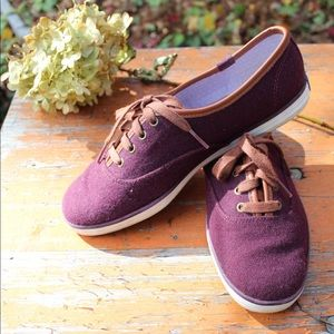 Berry Flannel Keds Champion w Leather Detail